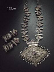 Antique Silver Look Like    Long  Necklace Set