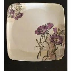 White Printed SQ-301 Melamine Square Plate, For Home,Restaurant, Size: 11.25 Inch