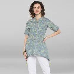 Janasya Women's Grey Pure Cotton Top(J0036)
