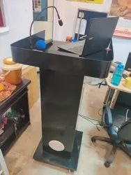 Metal Audio Podium With Amplifier,Gooseneck Mic,Wireless Mic And Hdmi,Lan Cable Sockets