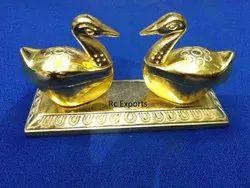 Golden Twin Swan Shape Haldi Kumkum Holder