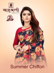 Bahubali Casual Wear Summer Chiffon saree, With Blouse Piece