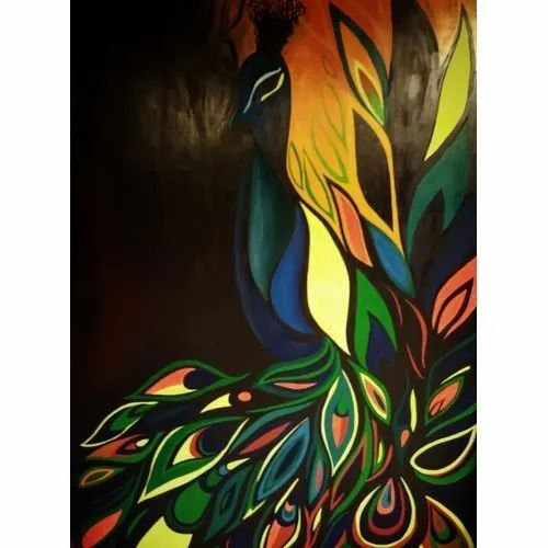 Multicolor Wooden Vertical Acrylic Painting, Size: 1.5x3 Feet