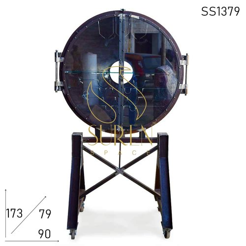 Rustic Industrial Wheel Bar Cart