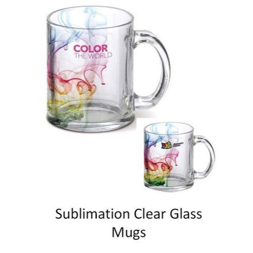 Printed Sublimation Clear Glass Mugs, For Gifting, Capacity: 250 Ml