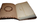 Sun Embossed Handmade Leather Journal with Stone