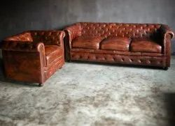 3 Seater Multicolor Wooden Leather Sofqset, For Hotel