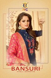 AVC Bansuri Stall Dupatta Heavy Cotton Slub Salwar Suits Catalog