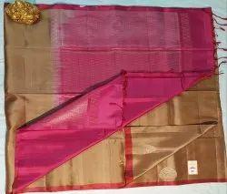 Bronze & Ruby Color Silk Saree