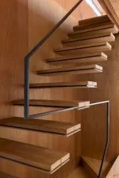 wood and mild steel wooden finish Cantilever Ready Made Stairs
