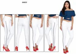 MM-21 White Cotton Lycra Side Stripes Skinny Fit Jeans For Women