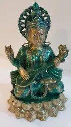 Brass Goddess Saraswati Statue, Size: 16 X 10 X 9 Inch