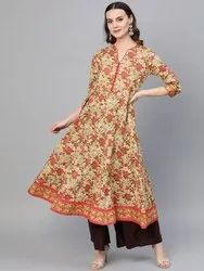 Cotton Floral Print Anarkali Kurta