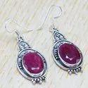925 Sterling Silver Jewelry Corundum Emerald Gemstone Fine Earring WE-6290