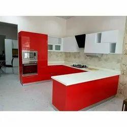 Modern U Shape WPC Modular Kitchen