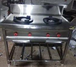Silver Stainless Steel Commercial Double Gas Burner, For Hotel, Size: 46 X 26 X 34 Inches