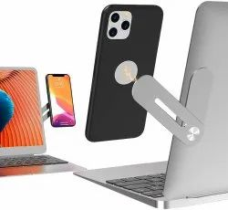 Side Mount Clip on Monitor Magnetic Laptop Stand with Phone Holder Computer Expansion Bracket