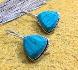 Triangular Earring In Turquoise Gemstone