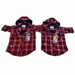 Regular Fit Checked Kids Designer Cotton Hooded Shirt