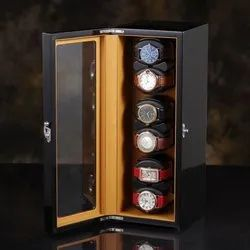 Medetai 6 Automatic Rotation Leather Vertical Style Wood Storage Display Case Box with Cover
