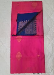 Hot Pink & Denim Colors Silk Saree