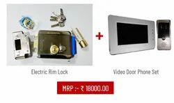 Smooth Black Electric Rim Lock with Video Door Phone