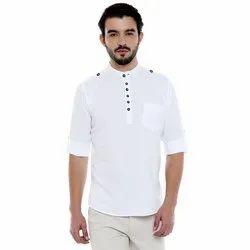 Casual Mens White Plain Cotton Kurta, Chinese