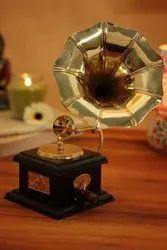 Handmade Vintage Dummy Gramophone Showpiece Only For Home Decor : Retro Age Small Gramaphone Replica