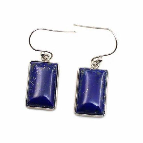 Square Shape Lapis lazuli Stone Earring