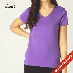 Half Sleeve V Neck Cotton T-shirt For Women (160 GSM)
