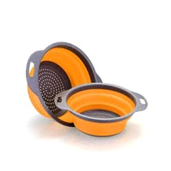 Orange and Grey Rubber and Plastics Collapsible Fruits Vegetables Washing Drying Drainer Bowl