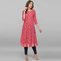 Janasya Women's Pink Pure Cotton Kurta(JNE2132)