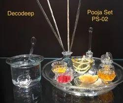 Decodeep Brand Glass Pooja Set PS-02