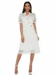 White Lace Mock Shirt Dress