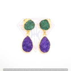Fashionate Druzy Gemstone Earrings Purple And Green Colour