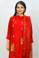 Cotton Party Wear Red Salwar Suit