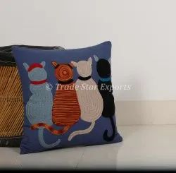 Animal Embroidered Cushion Cover Decorative Throw Pillow Cover Suzani Hand Embroidered Cushion Case