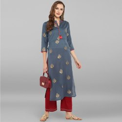 Janasya Women''''s Grey Poly Silk Kurta(JNE2307)