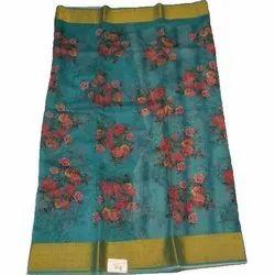 5.5 Meter Party Wear Ladies Printed Silk Zari Border Saree