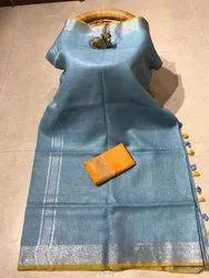 Lal10 Border Cotton Linen Saree, With Blouse Piece, 5.5 m (Separate Blouse Piece)
