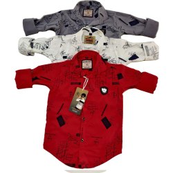 Collar Neck Casual Wear Kids Cotton Printed Shirt