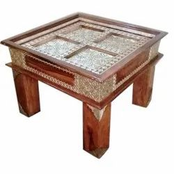 Ethnic India Square Wooden Brass Block Coffee Table, For Home, Size: 60 X 45 X 60 Cm