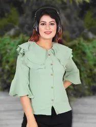 Light Green Jacquard Women Fancy Shirt, Size: Free Size, Casual