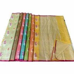 Party Wear Ladies Banarasi Chanderi Sarees, With Blouse, 6.3 m