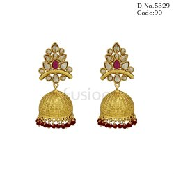 Traditional Polki Stone Beaded Jhumka Earrings