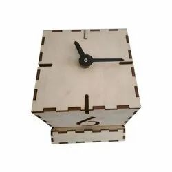 Woodkeiy Wooden Table Clock, For Office, Shape: Square