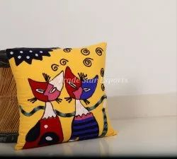 Hand Embroidered Cushion Cover 100% Canvas Cotton Suzani Cushion Cover Indian Throw Pillow Cover