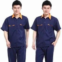 Half Sleeves Blue,Orange Industrial Cotton Uniforms
