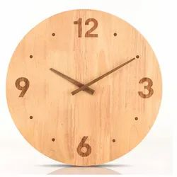 Round Wooden Analog Clock, For Gifting, Size: 9 X 9 Inch