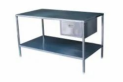 Pharmatechnik Stainless Steel S.S. Working Table With Drawer and Undershelf, For Hospital, Height Adjustable